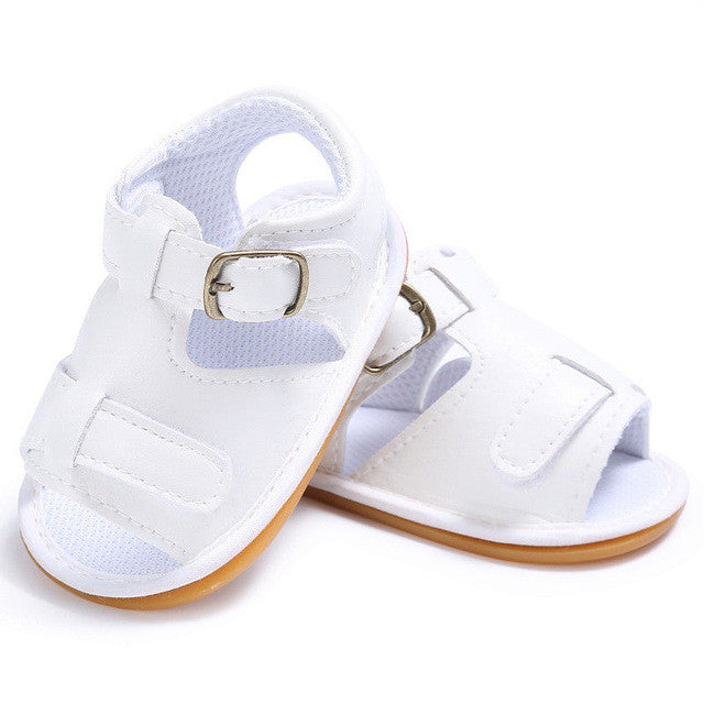 white Trendy Summer sandals with buckle closure and open toe.