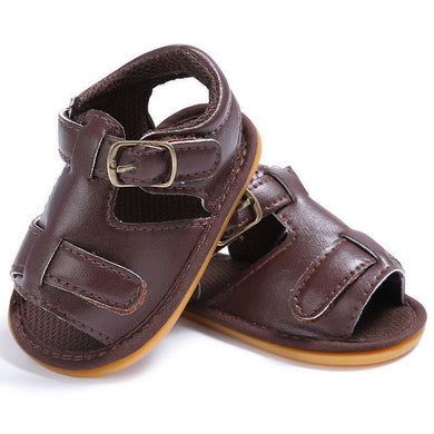 brown Trendy Summer sandals with buckle closure and open toe.