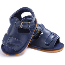 navy Trendy Summer sandals with buckle closure and open toe.