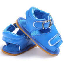 blue Trendy Summer sandals with buckle closure and open toe.