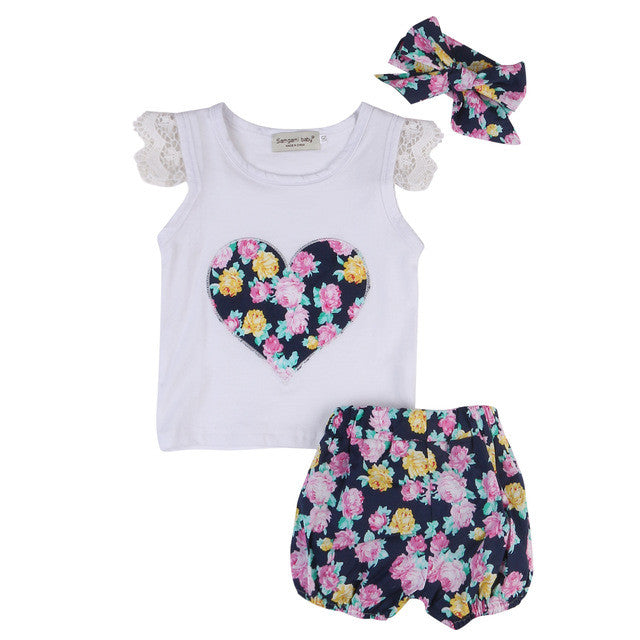 blue gorgeous with floral shorts, matching bow headband and heart print top