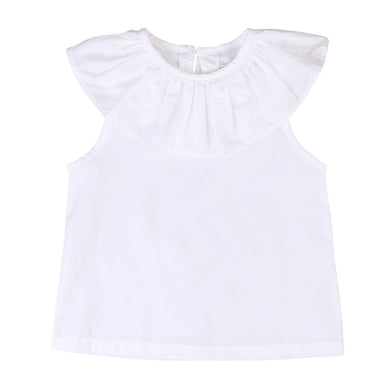 Cute sleeveless ruffled collar top