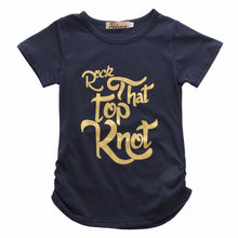 Rock That Top Knot! Fun Girls navy blue t-shirt