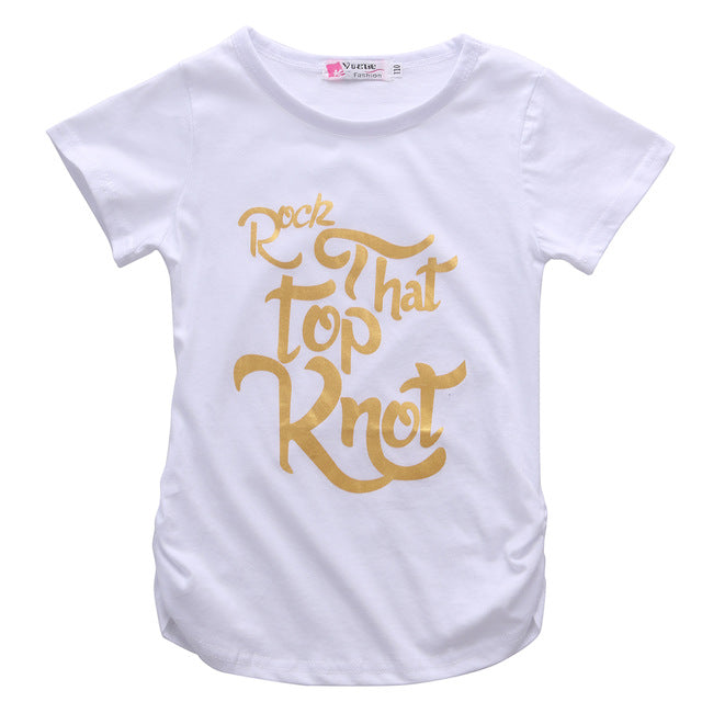 Rock That Top Knot! Fun Girls white t-shirt