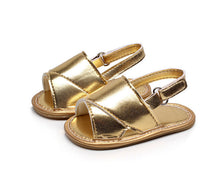 gold Beautiful baby girls pre-walker summer sandals.