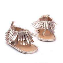 metallic Gorgeous girls leather tassel flat heeled sandal.