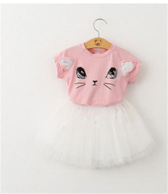 Pink adorable kitty printed top with butterfly tutu skirt.