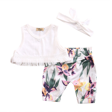 Cute girls summer white sleeveless tassel crop top with matching headband and adorable floral trouser pants