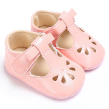pink Sweet baby girl summer shoes with flat heel.
