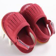 rose red Trendy Summer tassel sandals with flat heel.