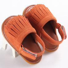 reddish brown Trendy Summer tassel sandals with flat heel.
