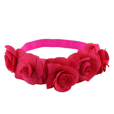 Beautiful cotton blend girls flower headband. rose red