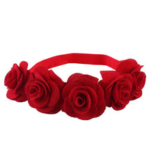 deep red Beautiful cotton blend girls flower headband.