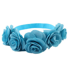 blue Beautiful cotton blend girls flower headband.
