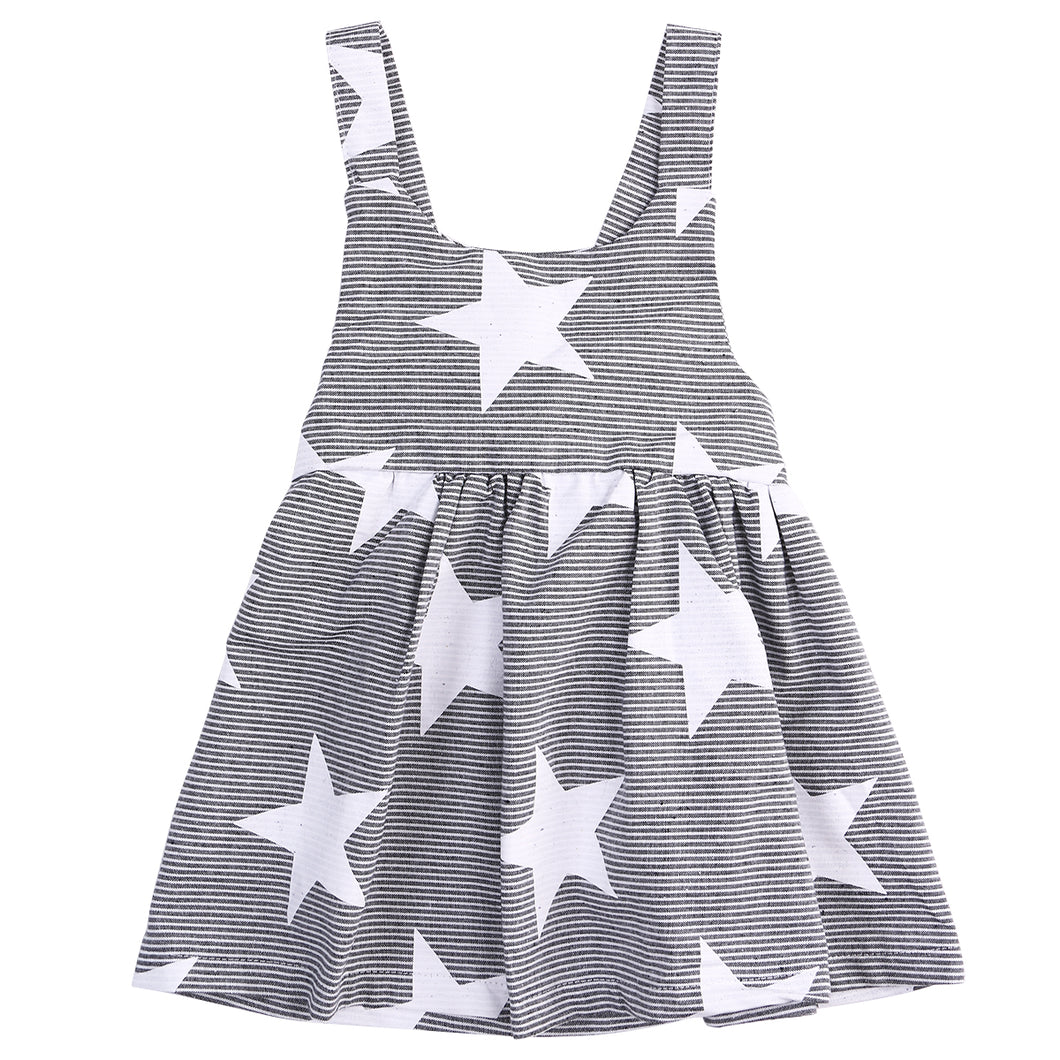Gorgeous striped sleeveless summer dress with star print.