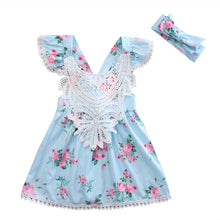 blue Sweet girls floral princess dress with gorgeous matching headband and lace detail