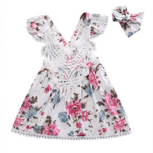 Sweet girls floral princess dress with gorgeous matching headband and lace detail