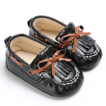 black Beautiful Moccasin Prewalker shoes with leather lace details and fringe front.