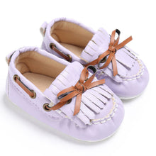 purple Beautiful Moccasin Prewalker shoes with leather lace details and fringe front.
