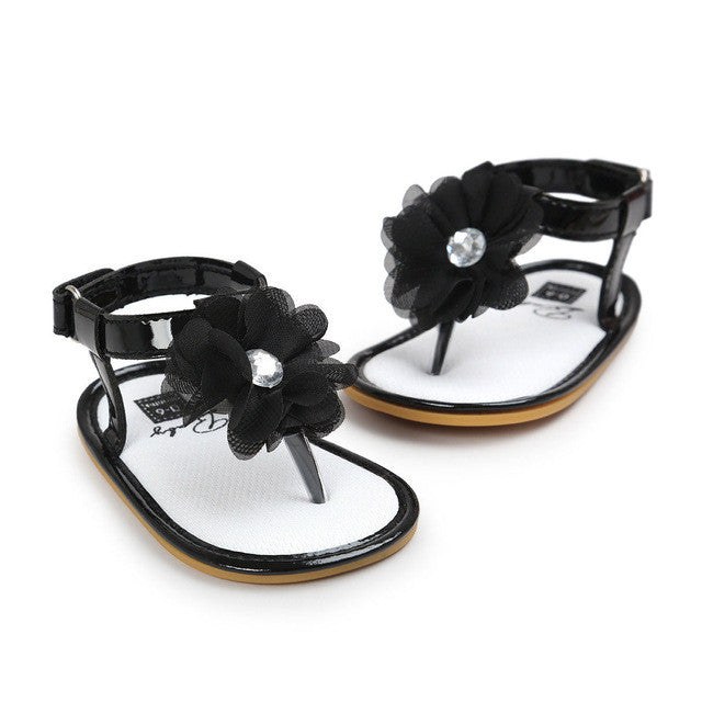 black Stylish Summer sandals perfect for first walkers with gorgeous flower detail