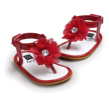 red Stylish Summer sandals perfect for first walkers with gorgeous flower detail