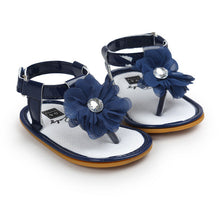 blue Stylish Summer sandals perfect for first walkers with gorgeous flower detail