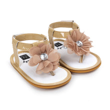 khake Stylish Summer sandals perfect for first walkers with gorgeous flower detail