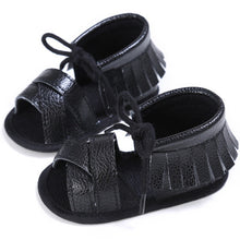 black Funky girls tassel sandal with shoe lace bow