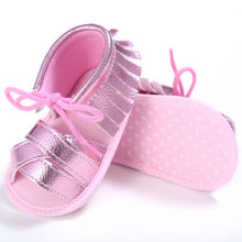 pink Funky girls tassel sandal with shoe lace bow