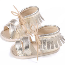 gold Funky girls tassel sandal with shoe lace bow