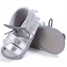 silver Funky girls tassel sandal with shoe lace bow