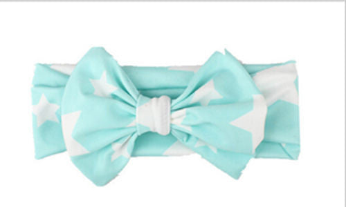 Lake blue Beautiful girls bow star print headband
