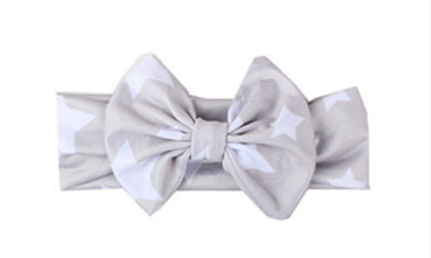 Gray Beautiful girls bow star print headband