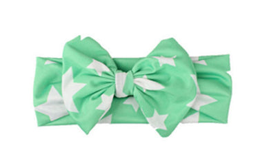 green Beautiful girls bow star print headband
