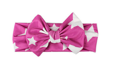 Purple Beautiful girls bow star print headband