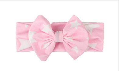 pink Beautiful girls bow star print headband