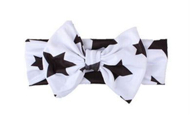 white Beautiful girls bow star print headband