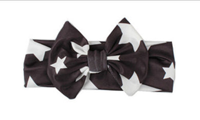 black Beautiful girls bow star print headband