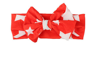 red Beautiful girls bow star print headband