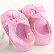 Summer girls cotton lace sandals with floral detail pink
