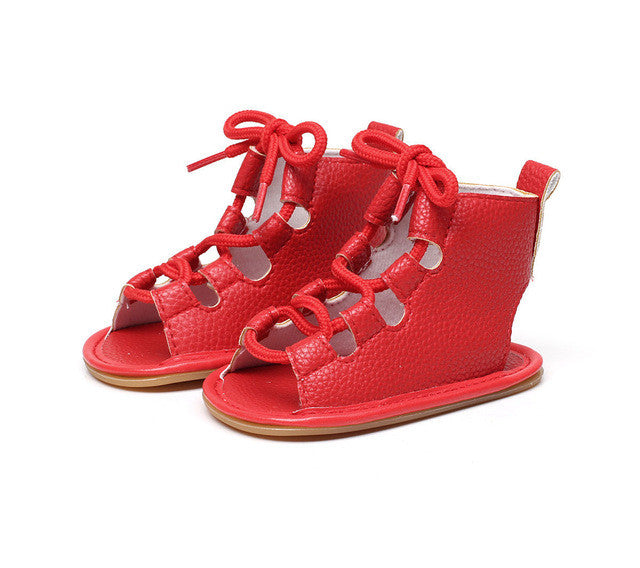 Trendy girls summer sandal with shoelace bow knot.