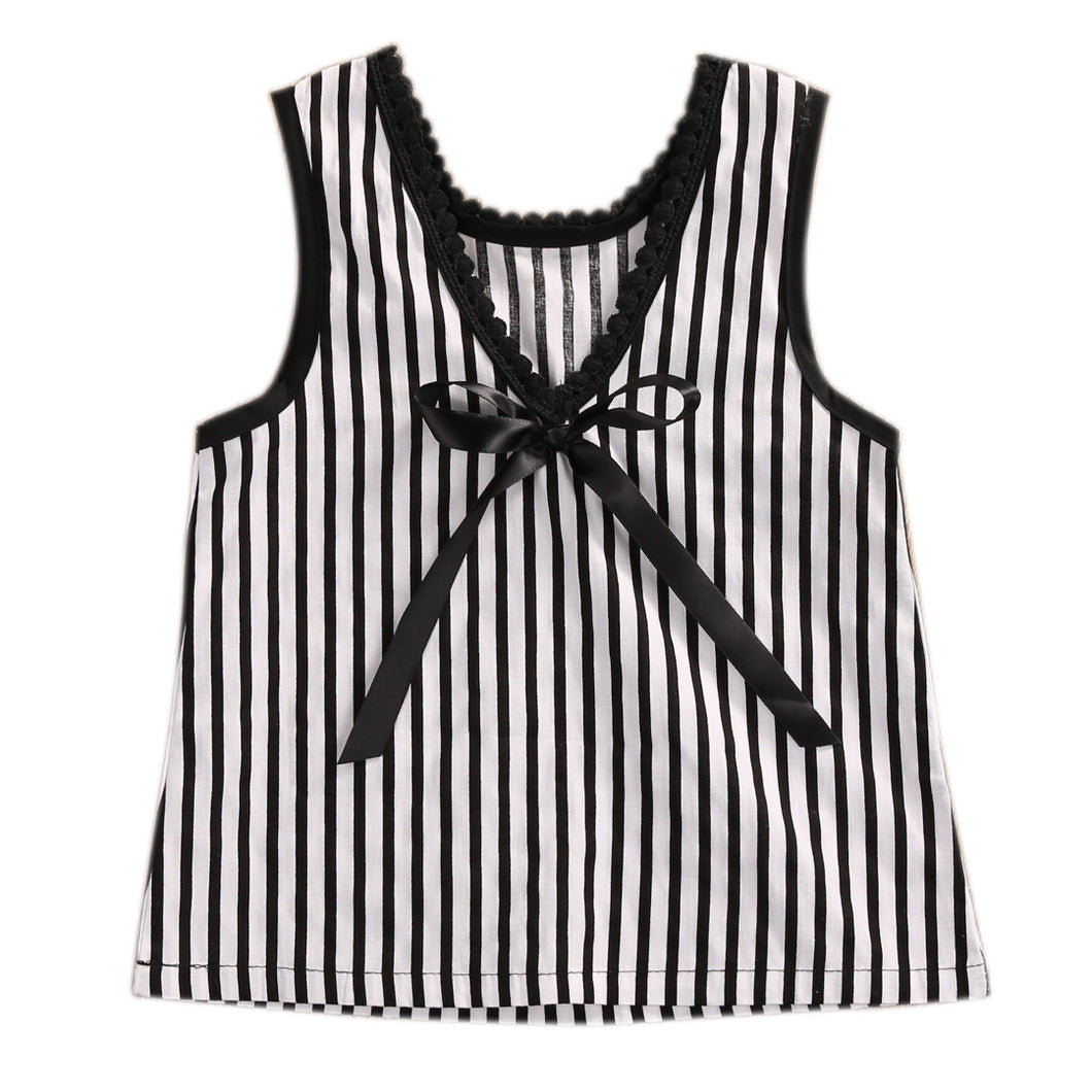 Cute black and white striped singlet top with bow