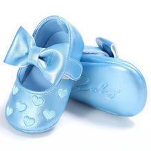 blue Gorgeous baby girls first walker shoes with beautiful bow and heart pattern.