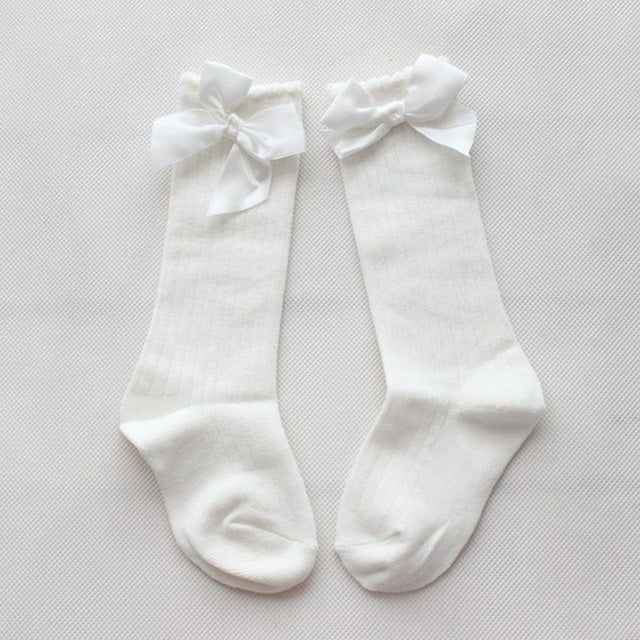 White Knee High Bow Socks