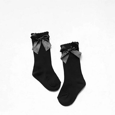 Black Knee High Bow Socks