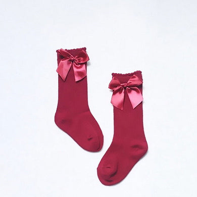 Red Knee High Bow Socks