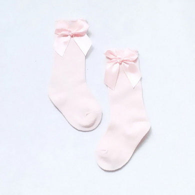 Pink Knee High Bow Socks