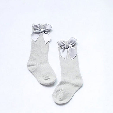 Grey Knee High Bow Socks