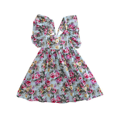 Blue stylish backless floral sundress with matching headband.