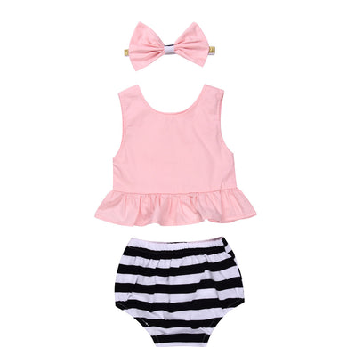 Gorgeous Pink sleeveless tank top with ruffles and stiped bloomer bottoms